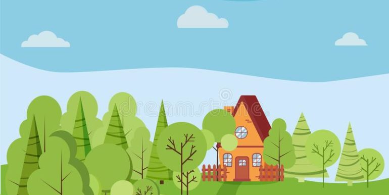 summer-spring-landscape-cartoon-country-house-fences-green-trees-spruces-clouds-road-flat-style-vector-background-152492593